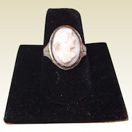 End of Year BLOWOUT SALE has begun: Angle Skin Coral Cameo Ring Art Deco Sterling Filigree
