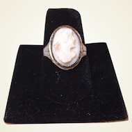 Angle Skin Coral Cameo Ring Art Deco Sterling Filigree