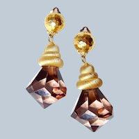 NY Designer Shoulder Drop Lucite Crystal Earrings Last Chance SALE