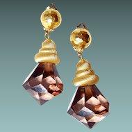 New York Designer Large Smoke Lucite Crystal Drop Runway Earrings