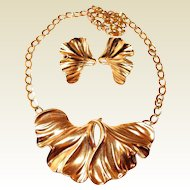 Trifari Sculptured Crimped Leaf Motif Necklace and Earrings