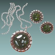 Carved Green Marbled Bakelite Necklace Earring Set