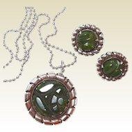 Carved Green Marbled Bakelite Necklace Earring Set