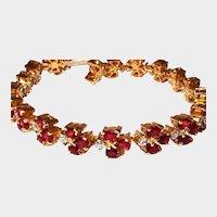 18kt Tennis Bracelet Diamond Garnet Yellow Gold Custom Made