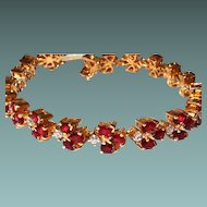 18kt Tennis Bracelet Diamond Garnet Yellow Gold Custom Made One of a Kind