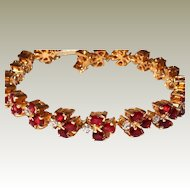 18kt Tennis Bracelet Diamond Garnet Yellow Gold Custom Made FINAL REDUCTION SALE