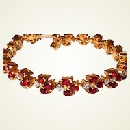 18kt Tennis Bracelet Diamond Garnet Yellow Gold Custom Made