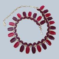 Scarce Lisner Wide Necklace Purple Plum Thermoset Plastic Last Chance SALE