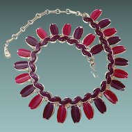 Scarce Lisner Wide Necklace in Purple Plum Thermoset Plastic