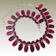 Scarce Lisner Wide Necklace FINAL REDUCTION SALE Purple Plum Thermoset Plastic