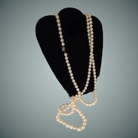 Flapper Simulated Pearl Necklace Sterling Clasp