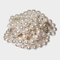 LONG Flapper Simulated Pearl Necklace Sterling Clasp