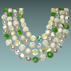 Four Strand Green White Bead Necklace Elaborate Light Weight Plastic