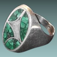 In FINAL REDUCTION SALE Large Sterling Unisex Ring with Malachite Abstract Design