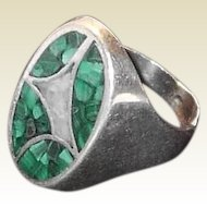 Large Sterling Unisex Ring with Malachite Abstract Design
