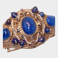 Rare Austro-Hungarian Silver Renaissance Bracelet Lapis and Pearls