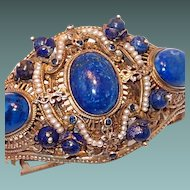 Rare Austro-Hungarian Silver Renaissance Bracelet with Lapis and Pearls