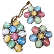 Pastel Glass Cats-Eye Moonstone FINAL REDUCTION SALE Pendant Necklace Dress Clip Set