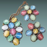 Pastel Glass Cats-Eye Moonstone Pot Metal Pendant Necklace Dress Clip Set