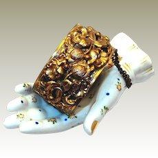 Wide Victorian Revival Repousse Bracelet with Tulip Motif