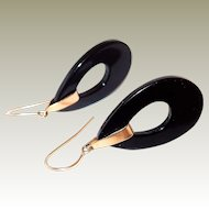 FINAL REDUCTION SALE Classic 14k Gold and Onyx Drop Hoop Hook Earrings