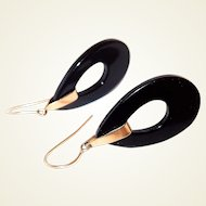 Classic 14K Gold and Onyx Drop Hoop Hook Earrings