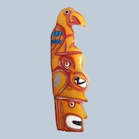 Bakelite Native American Indian Totem Pole Brooch Carved/Painted Book Piece Last Chance SALE