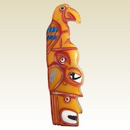 Bakelite Indian Totem Pole Brooch Carved and Painted Book Piece