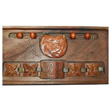 Mermaid/Nude Hand Tooled Wooden Necklace Bracelet Set in Original Box