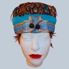 Feather Hat Turquoise and Ribbon Band with Deco Jabot Pin