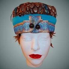 Feather Hat Turquoise and Ribbon Band with Deco Flare