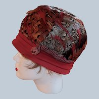 One of a Kind Feather Hat Red Trim
