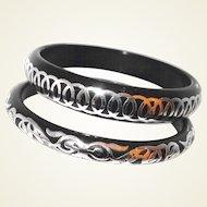 Vintage Black Bakelite Bangles Set Silver Overlay