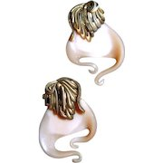 Swirl All Glass Clip Earrings One-of-a-Kind Designer