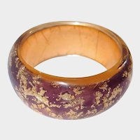 Resin Designer Bangle Iridescent Gold Flakes on Plum