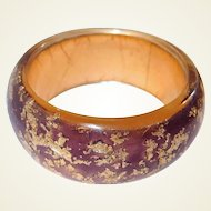 Resin Designer Bangle Iridescent Gold Flakes on Plum