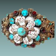 Hungarian Antique Silver Enamel Bracelet with Turquoise and Garnet Stones