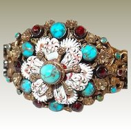 Hungarian Antique Silver Enamel Bracelet FINAL REDUCTION SALE Turquoise and Garnet Stones