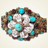 Hungarian Antique Silver Enamel Bracelet Turquoise and Garnet Stones