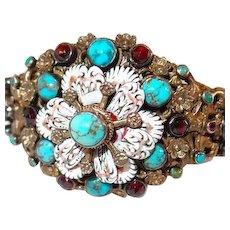 Hungarian Antique Silver Enamel Bracelet FINAL REDUCTION SALE Turquoise and Garnet Stones