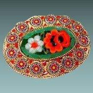 Italian Glass Mosaic Flower Pin in Green/Red/Orange