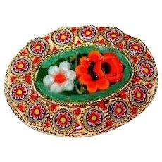 Italian Glass Mosaic Flower Pin in Green/Red/Orange FINAL REDUCTION SALE