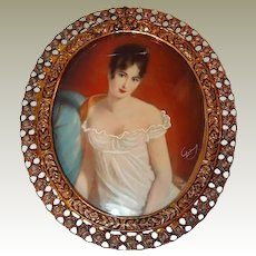 Italian Hand Painted Cameo Portrait Wall Hanging