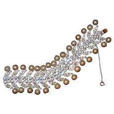 Weiss Pearl Diamond Look Bracelet Book Piece 1960s