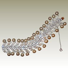 Weiss Pearl Diamond Look Bracelet Book Piece 1960s