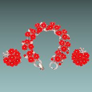 Lisner Set: Red Thermoset Plastic Flower Bracelet and Earrings