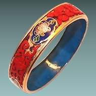 Chinese Cinnabar and Cloisonne Bangle