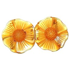 Carved Apple Juice Bakelite Flower Buckle FINAL REDUCTION SALE Honeycomb Centers