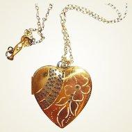 Gold Filled Heart Locket Sterling Necklace Pink Flower