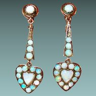 Edwardian 10Kt Gold Opal Heart Drop Earrings
